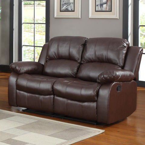 Homelegance Cranley Double Reclining Loveseat in Brown Leather