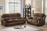 Homelegance Cranley Double Reclining Loveseat in Brown Microfiber