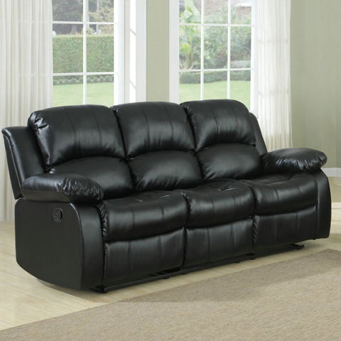 Homelegance Cranley Double Reclining Sofa in Black Leather