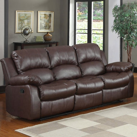 Homelegance Cranley Double Reclining Sofa in Brown Leather