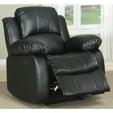 Homelegance Cranley Reclining Chair in Black Leather