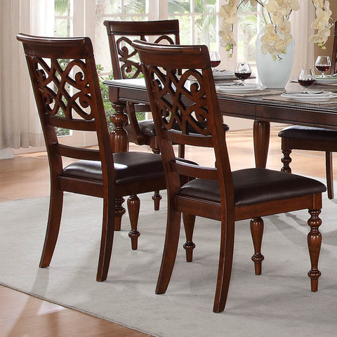 Homelegance Creswell Side Chair w/ Dark Brown Bi-Cast Vinyl Seat in Rich Cherry