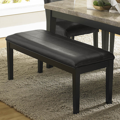 Homelegance Cristo Bench w/ Dark Brown Bi-Cast Vinyl Seat in Black