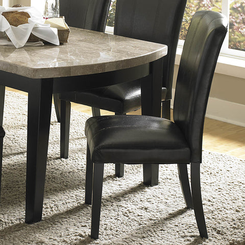 Homelegance Cristo Side Chair w/ Dark Brown Bi-Cast Vinyl Cover in Black
