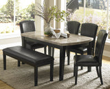Homelegance Cristo 5 Piece Marble Top Dining Room Set in Black