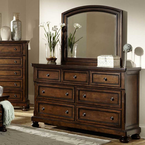 Homelegance Cumberland 7 Drawer Dresser w/ Mirror in Medium Brown