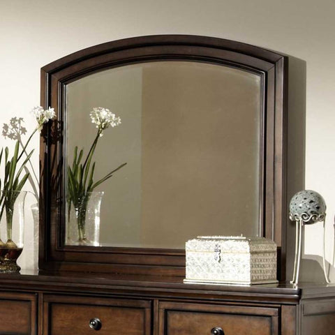 Homelegance Cumberland Arched Mirror in Medium Brown