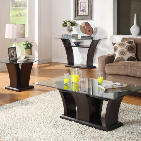 Homelegance Daisy 3 Piece Coffee Table Set in Espresso
