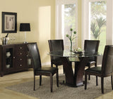Homelegance Daisy 7 Piece Round Dining Room Set in Espresso