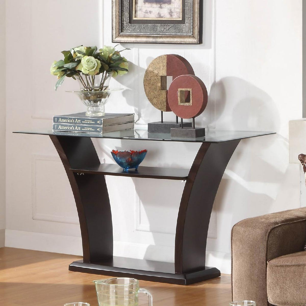 Homelegance Daisy Glass Top Sofa Table In Espresso Beyond Stores