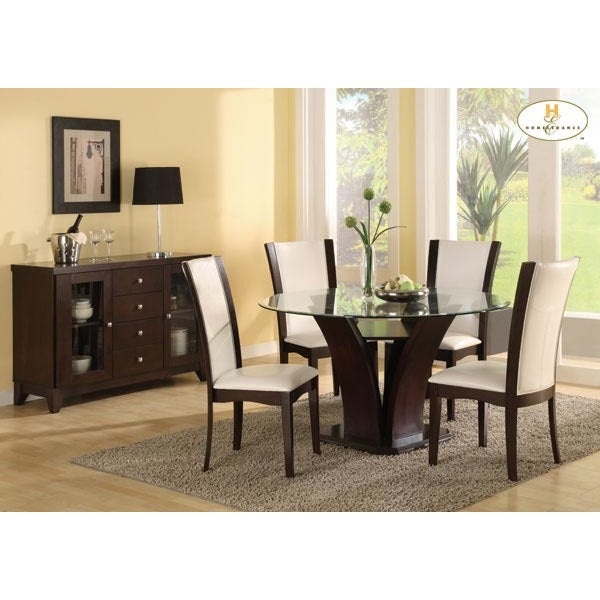 Homelegance Daisy Round Glass Top Dining Table In Espresso