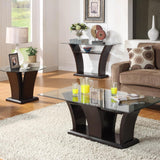 Homelegance Daisy Round Glass Top End Table in Espresso