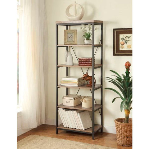 "Homelegance Daria Bookcase, 26""W In Metal Frame With Grey Weathered Wood"
