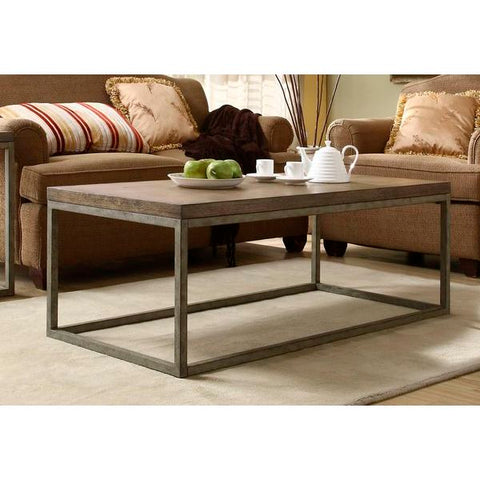 Homelegance Daria Cocktail Table In Metal Frame With Grey Weathered Wood
