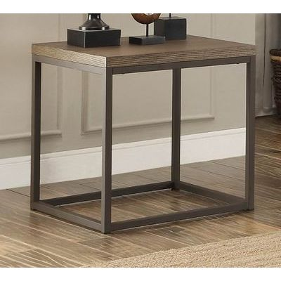 Homelegance Daria End Table In Metal Frame With Grey Weathered Wood