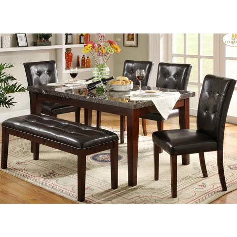 Homelegance Decatur 6 Piece Rectangular Dining Room Set w/ Marble Top