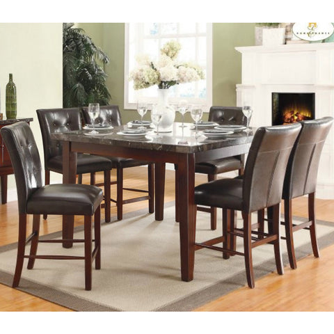 Homelegance Decatur 7 Piece Counter Dining Room Set w/ Marble Top