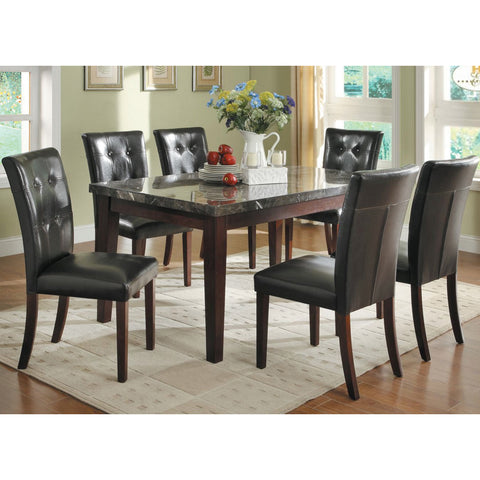 Homelegance Decatur 7 Piece Rectangular Dining Room Set w/ Marble Top