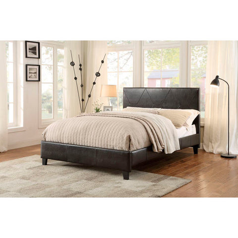 Homelegance Deleon Bed In Dark Brown Bi-Cast Vinyl