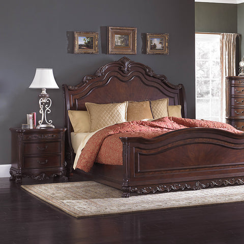 Homelegance Deryn Park 2 Piece Sleigh Bedroom Set in Cherry