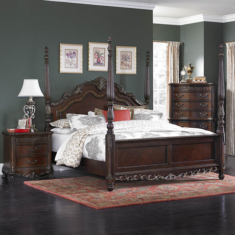 Homelegance Deryn Park 3 Piece Poster Bedroom Set in Cherry