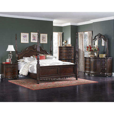 Homelegance Deryn Park 5 Piece Poster Bedroom Set in Cherry