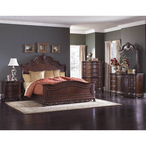 Homelegance Deryn Park 5 Piece Sleigh Bedroom Set in Cherry