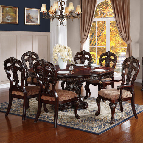 Homelegance Deryn Park 7 Piece Oval Pedestal Dining Room Set in Cherry