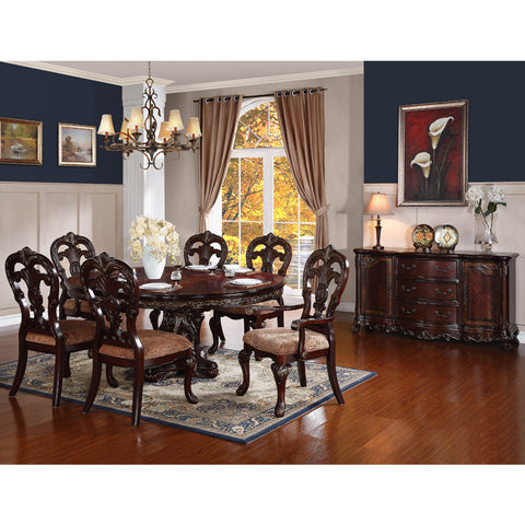Homelegance Deryn Park 8 Piece Oval Pedestal Dining Room Set in Cherry