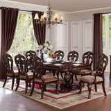 Homelegance Deryn Park Double Pedestal Dining Table in Cherry