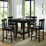 Homelegance Diego 5 Piece Square Counter Height Table Set in Espresso