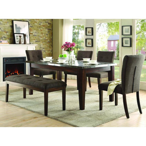 Homelegance Dorritt 6 Piece Dining Room Set w/Bluestone Marble Top in Cherry