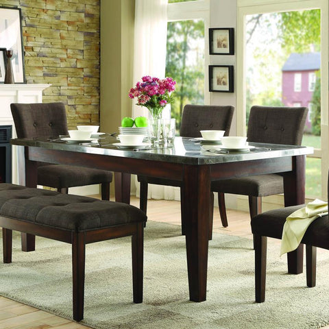 Homelegance Dorritt Dining Table w/Bluestone Marble Top in Cherry