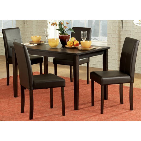 Homelegance Dover 5 Piece Rectangular Dining Room Set in Espresso