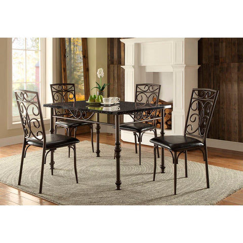 Homelegance Dryden Dining Table In Faux Marble / Metal Frame