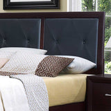 Homelegance Edina 3 Piece Upholstered Headboard Platform Bedroom Set in Espresso Cherry