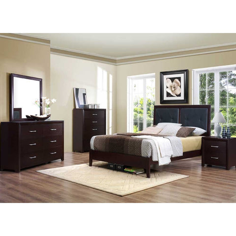 Homelegance Edina 5 Piece Upholstered Headboard Platform Bedroom Set in Espresso Cherry