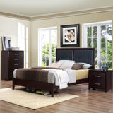 Homelegance Edina Upholstered Headboard Platform Bed in Espresso Cherry