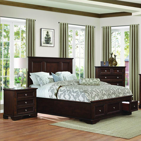 Homelegance Eunice 3 Piece Platform Bedroom Set w/Storage Footboard in Espresso