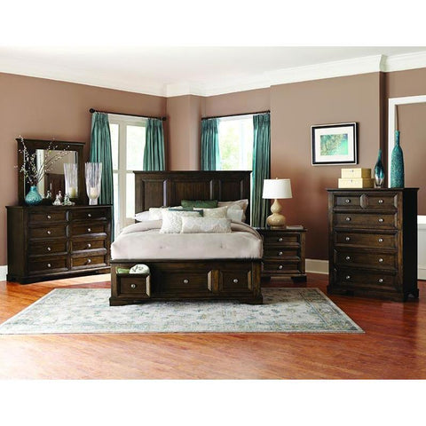 Homelegance Eunice 4 Piece Platform Bedroom Set w/Storage Footboard in Espresso