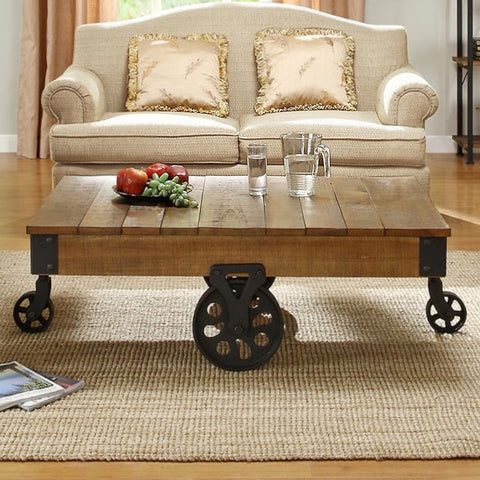 Homelegance Factory Rectangular Cocktail Table w/ Iron Casters