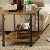 Homelegance Factory Rectangular End Table w/ Wrought Iron Base
