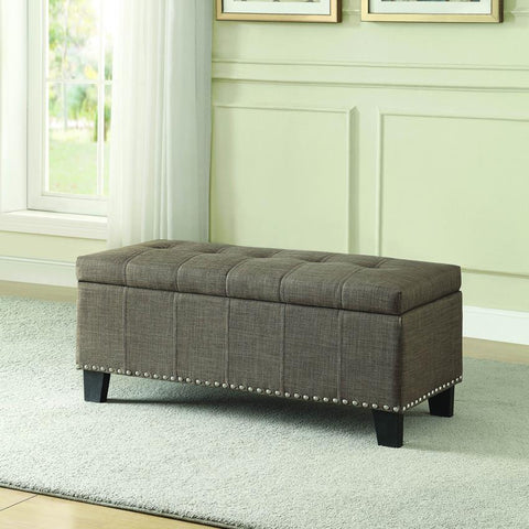 Homelegance Fedora Lift Top Storage Bench in Brown
