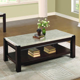Homelegance Festus 2 Piece Marble Top Coffee Table Set in Cherry