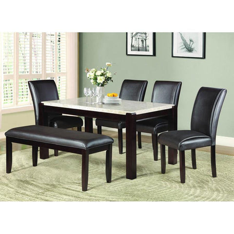 Homelegance Festus 6 Piece Marble Top Dining Table in Dark Cherry