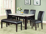 Homelegance Festus 7 Piece Marble Top Dining Table in Dark Cherry
