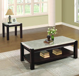 Homelegance Festus Marble Top End Table in Cherry