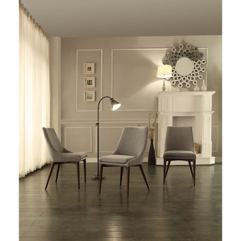 Homelegance Fillmore Side Chair w/ Grey Fabric Cover in Espresso