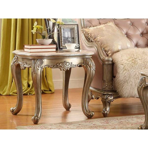 Homelegance Fiorella End Table In Marble Top / Champagne