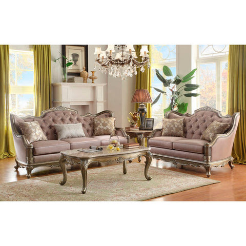 Homelegance Fiorella Love Seat & Sofa In Dusky Taupe